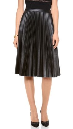 Faux leather pleated skirt.