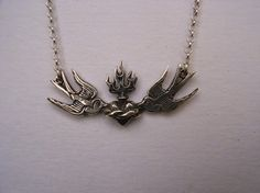 Sterling Silver Swallows and Sacred Heart by MetalCoutureJewelry