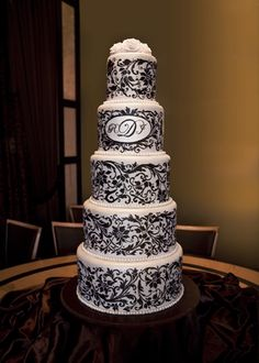 5 tier free-hand painted wedding cake with sugar pearl border and sugar rose cake top (My own wedding cake!!)