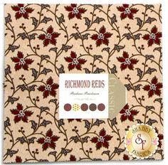"Richmond Reds by Barbara Brackman for Moda Fabrics. 100% Cotton. This layer cake contains 42 squares, each measuring 10"" x 10""."