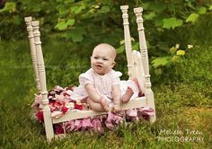 6 month old baby photo in a little bed in a field | Melissa Treen Photography | Greensboro Baby Photographers