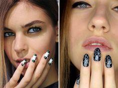 nail tips, fashion weeks, antonoff nyfw, black white, gardens, rachel antonoff, garden parties, beauty nails, nail art
