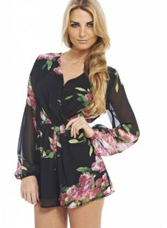 Pink Floral Wrap Chiffon Romper,  Other, Black Floral Print Long Sleeve Romper, Chic