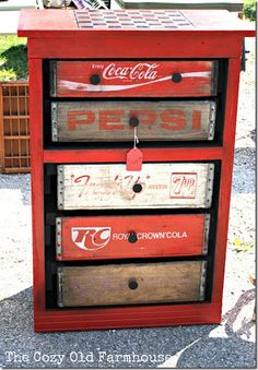 Repurpose an old dresser, using coke bottle case crates and some repurposed drawer knobs.