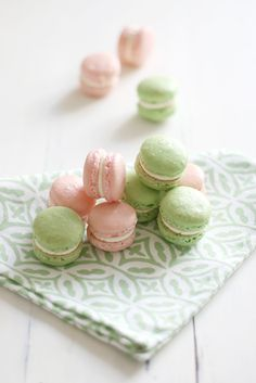 pink and green French macaroons