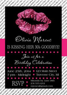 Lips Invitation - Printable for Birthday or Bachelorette Party Kissing Goodbye Invite