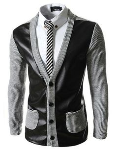 (VRC15-GRAY) Slim Fit Leather Patched Knitted 4 Button Cardigan
