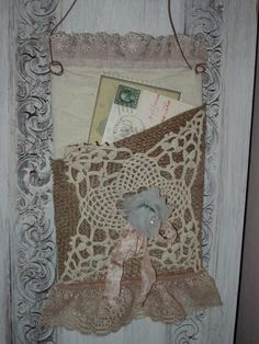 Shabby Chic Burlap and Lace wall pocket  Wall by Fannypippin,