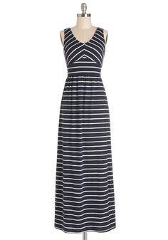 Trivia Night Delight Dress. Youre ready for a trivia team victory,smartly clad in this striped maxi dress! #blue #modcloth