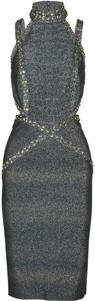 Herve Leger Crystal-embellished Metallic Bandage Dress - Lyst