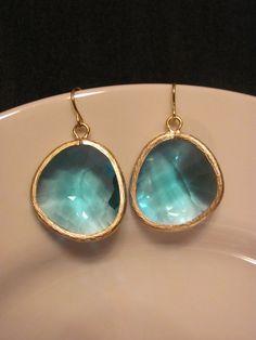 Sea Blue Stunning Large Gemstone Earrings by savannahjacks