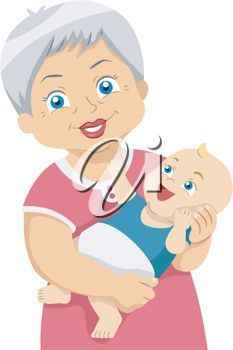 iCLIPART - Illustration Featuring an Elderly Woman holding a baby