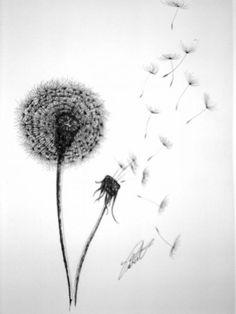 Blowing Dandelion Tattoo | Double Dandelion Drawing by Dennis Vebert - Double Dandelion Fine Art ...