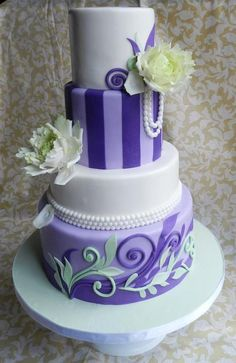 Purple, white and mint green vintage wedding cake
