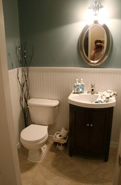 Powder room - storage under sink rather than pedestal sink