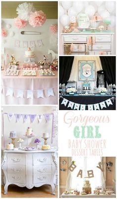 Gorgeous Girl Baby Shower Dessert Tables