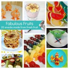 20 Snacks made from fresh fruit. www.spoonful.com #kidssnacks #healthysnacks #snackrecipes
