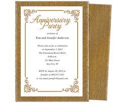 Wedding Anniversary Party Templates : Laurel Wedding Anniversary Party Invitation Template accented with flourish corner framing.