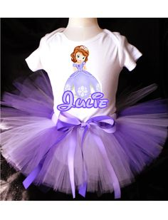Sofia the First Princess Tutu Birthday Outfit Costume Tutu and Top Included
