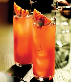 The Lower East Side cocktail, inspired by 'Return to Retro.' This downtown classic is a unique blend of GREY GOOSE L'Orange, seasonal blood orange juice and liqueur, with a slight drizzle of aged balsamic to give an intriguing gritty bite.