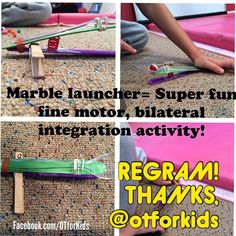 Thanks @otforkids for the regram! This is a super hit around here. We're marking the farthest a marble has been launched with this kid made launcher. Seriously the kids could play with it all day! - - click on pin for more! - Like our instagram posts? Please follow us there at instagram.com/pediastaff