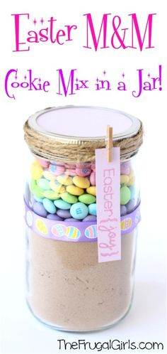 Easter M&M Cookie Mix Gift in a Jar! ~ from TheFrugalGirls.com ~ share some Easter joy this year with this fun DIY mason jar gift... the cookies are DELICIOUS!! #masonjars #gifts #giftsinajar #thefrugalgirls