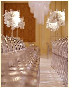 Rows of #Philippe #Starck's #Ghost #chairs for a #wedding #ceremony