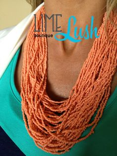 Lime Lush Boutique - Coral Beaded Necklace, $19.99 (http://www.limelush.com/coral-beaded-necklace/)
