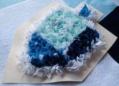 Puffy Dreidel - tissue paper craft for Hanukkah