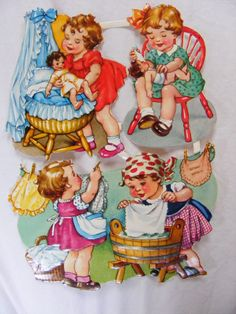 Vintage German Paper Dolls  Sheet of 4 Girls  by PrivateerVintage