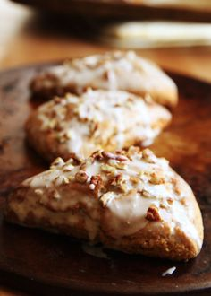 Whole Wheat Carrot Cake Scones with a Maple Cream Cheese Pecan Glaze