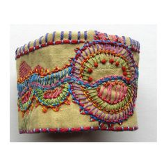 Hand Embroidered MultiColored Cuff by MadrigalEmbroidery