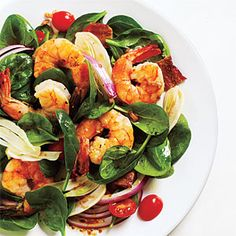 Fennel and Spinach Salad with Shrimp and Balsamic Vinaigrette | CookingLight.com #myplate #veggies #protein #fruit