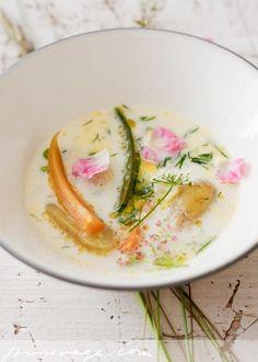 Finnish summer soup: vegetables, milk, butter, salt and dill