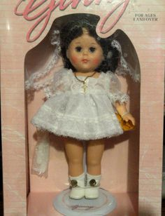 """Ginny's """"First Communion Doll"""" by Vogue. Wearing her veil and cross chain necklace. Also comes with her hairbrush/comb."""