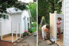 DIY Delight  Nooks and corners with pre-existing spigots are good locations for outdoor showers. You can build your own privacy screen in a couple of days. Use pressure-treated lumber for floor joists, and make sure the flooring slopes away from your house ¼ inch per foot to protect your foundation and siding from excessive moisture.      Credit: Just*Grand blog