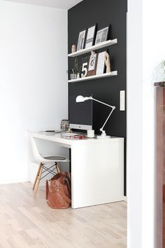 Black wall: how to balance out all that white. There's nowhere in my house I could do this but I LOVE IT