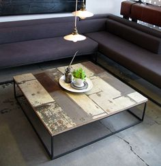 steel coffe, coffee tables, couch, reclaim wood, wood tables
