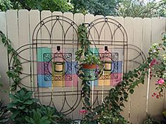 Painted Design with Wrought Iron Wall Art & Garden Edging