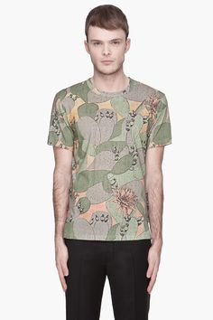 PAUL SMITH JEANS Green cactus Print t-shirt