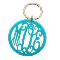 Acrylic Monogram Keychain Aqua