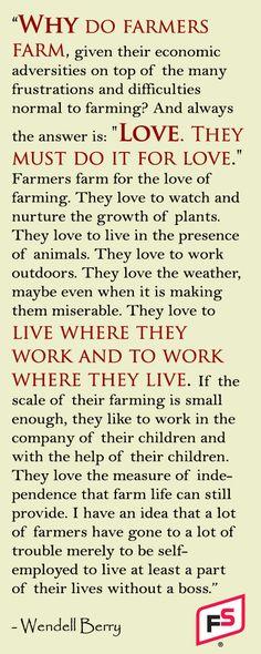Farming--Do it for love
