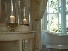 baths, candlelit bath, bathroom candl, tub, master bathrooms, master bathroom curtains, romant bathroom, bathroom makeov, romantic bathrooms