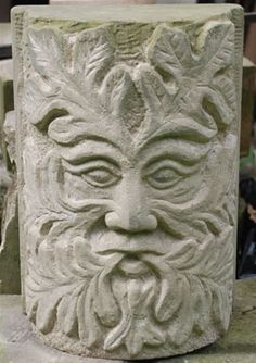 Green Man Stone Sculpture