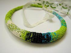 plastic bag crochet necklace