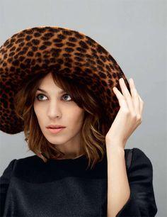 A BIG leopard hat! love alexa chung.