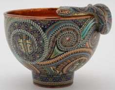 ~ Jon Stuart Anderson - Copper bowl with detachable snake - 100 % Handmade polymer clay with hand-hammered copper