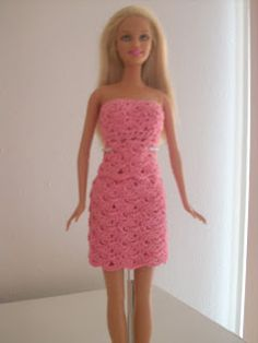 Crochet for Barbie (the belly button body type): Pink Shell Skirt