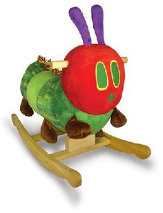 Wood/Plush Rocker by Kids Preferred- The oohs and ahhs will come from adults, but baby's eyes will light up at the sight of this sweet and soft rocker. The unforgettable character from Eric Carle's classic children's book The Very Hungry Caterpillar is transformed into a wooden rocker with soft body. The caterpillar rocker is 26 inches long and 19 inches tall; the perfect size for toddler to ride.