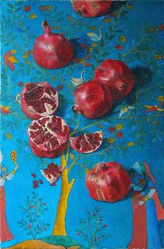flaming pomegranate ~ oil on canvas by victoria frank